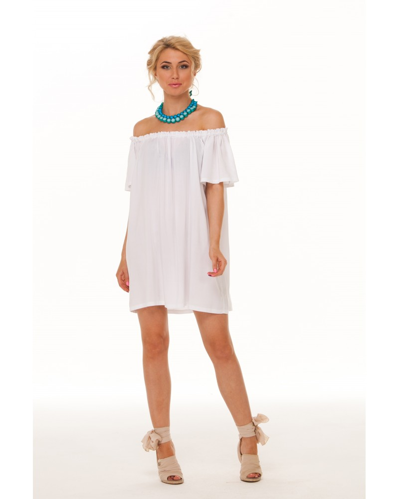 Платье с открытыми плечами и рукавами на резинке сшить