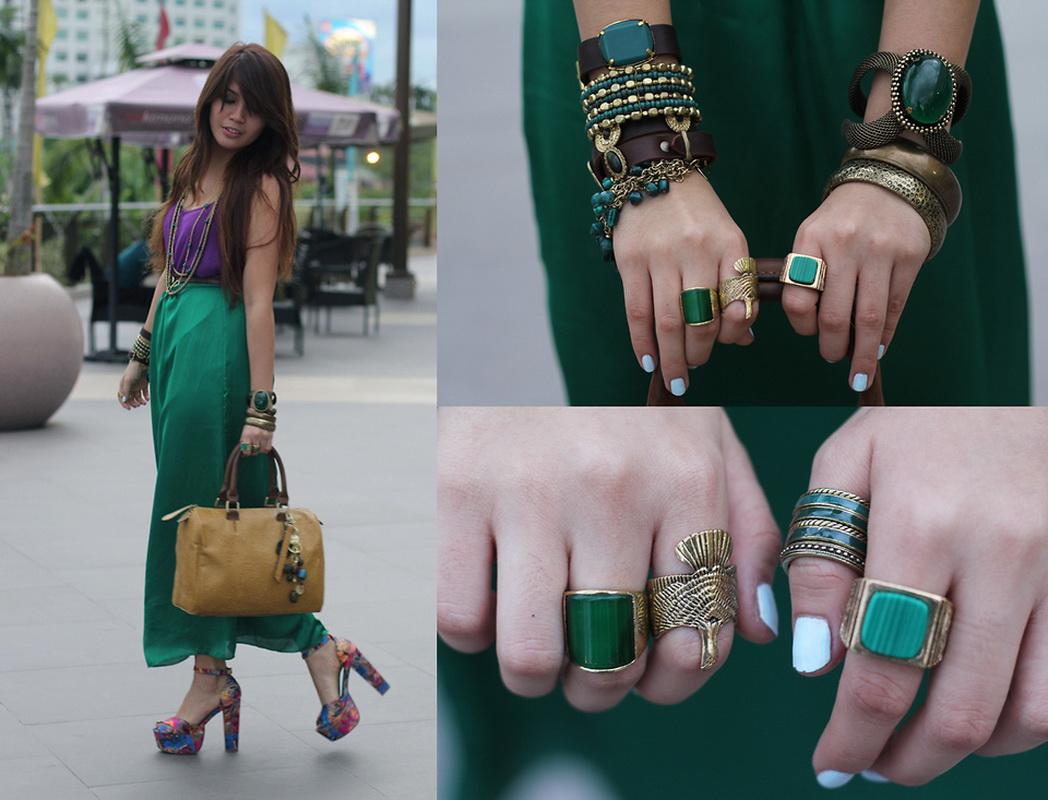 С чем сочетать темно зеленую сумку
