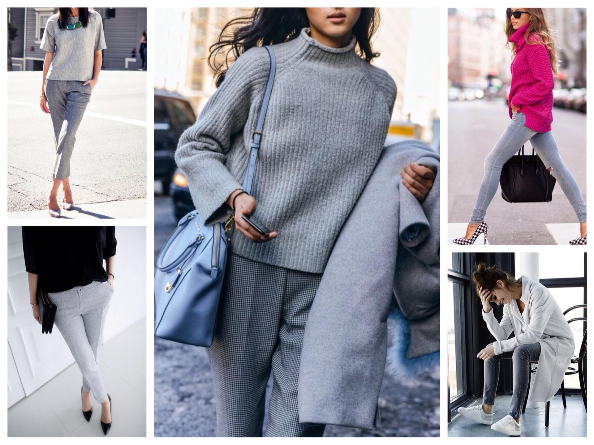 З чим носити сірі джинси і штани для жінок  фото 98a051acd899f