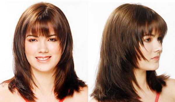 Прически каскад на средние волосы с челкой для круглого лица